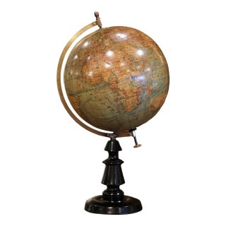 Early 20th Century French Globe on Carved Walnut Base Signed J. Forrest, Paris For Sale