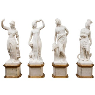 """19th C. Italian Marble """"Four Continents"""" Statues For Sale"""