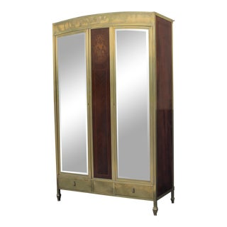 French Art Deco C. 1920s Solid Brass Armoire / Wardrobe - Mirrored With Palisander & Exotic Wood Inlay For Sale