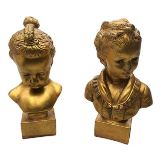 Mid 20th Century Boy & Girl Gold Gilt Busts - a Pair For Sale