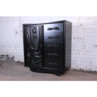 Witco Oceanic Style Black Lacquered Sculptural Tiki Gentleman's Chest by Pulaski, Two Available Preview