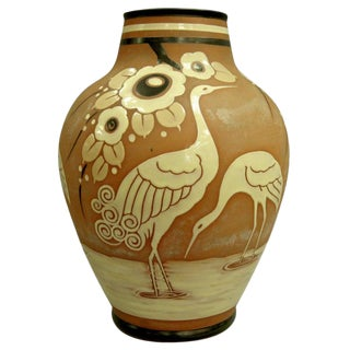 Catteau Boch Freres Enameled Vase With Cranes, Circa 1939 For Sale