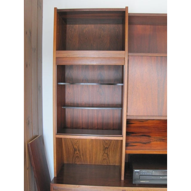 Danish Modern Rosewood Shelving Unit With Bar - Image 4 of 9