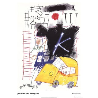 2002 Jean-Michel Basquiat 'City Taxi' Pop Art White,Black,Yellow Italy Offset Lithograph For Sale