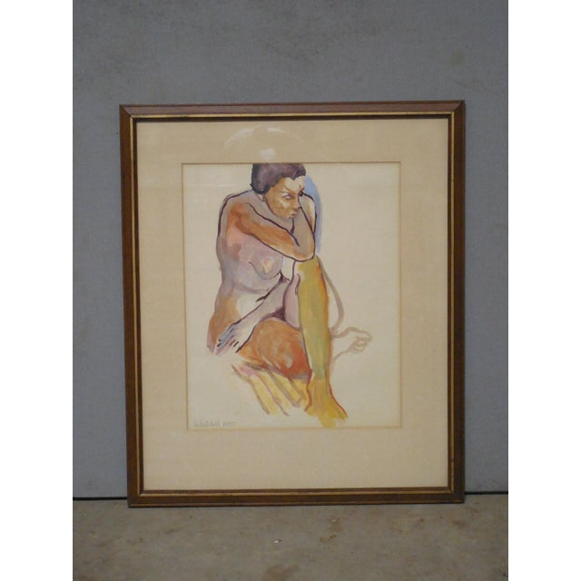 1965 Vintage Nude Watercolor on Paper Painting - Image 3 of 7