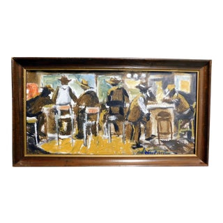 "1990s Andrew Turner ""Old Heads' Bar"" Original Oil Painting For Sale"