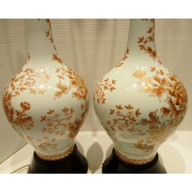 Burnt Orange Large 1950s Japanese Hand Painted Porcelain Vases Mounted as Lamps - a Pair For Sale - Image 8 of 11