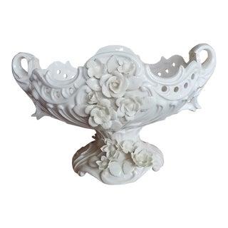 White Pedestal Cache Pot For Sale