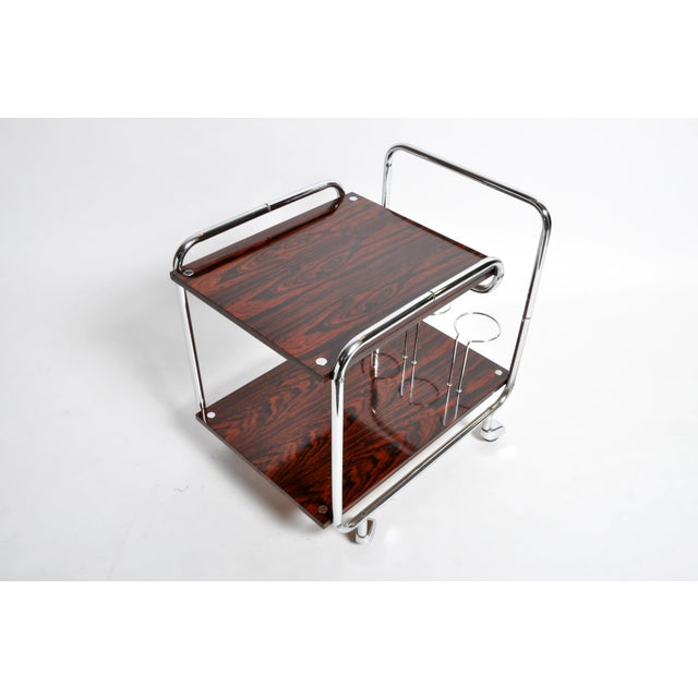 Black Mid-Century Modern Hungarian Chrome and Rosewood Bar Cart For Sale - Image 8 of 13