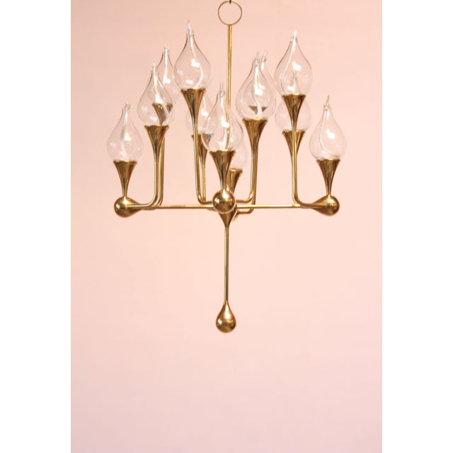 West German Brass and Glass Oil Lamp Candelabra by Freddie Andersen - Image 9 of 9