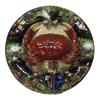 Vintage Majolica Palissy Stile Portuguese Crab Wall Platter For Sale