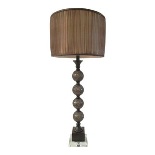 Chocolate Globe Crackle Glass Lamp For Sale
