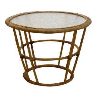 Wicker Glass Side Table for Rohé Noordwolde