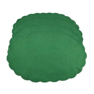 Vintage Woven Holiday Green Placemats- Set of 4 For Sale