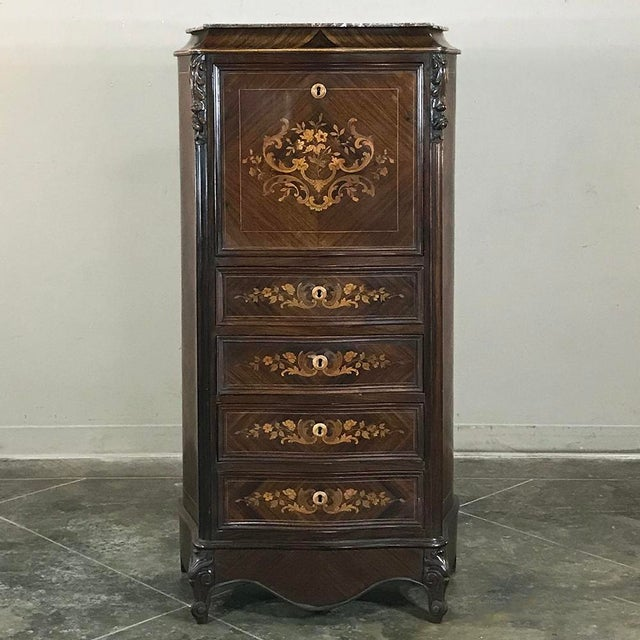 19th Century French Parisienne Rosewood Marble Top Drop-Front Secretary For Sale - Image 13 of 13
