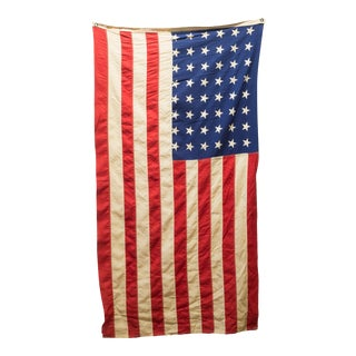 American Flag With 48 Stars and Original Pole C.1940 For Sale