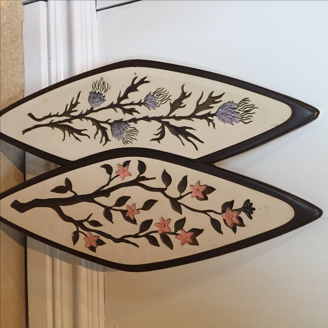 Atomic-Style Floral Wall Plaques - Set of 2 - Image 5 of 8