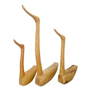 Hand Carved Solid Teak Duck Figures - Set of 3 For Sale