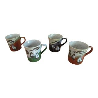 Vintage Sailboat Motif Stoneware Coffee Cups - Set of 4 For Sale