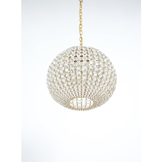 1960s Large Ball Shaped Crystal Chandelier Lamp Austria, circa 1960 For Sale - Image 5 of 5