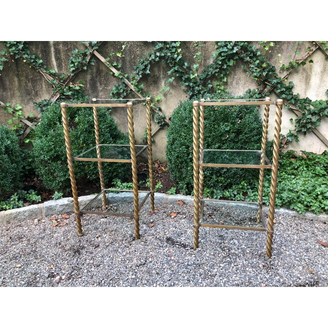 1970's Mid-Century Modern Brass and Glass Etageres-a Pair For Sale - Image 10 of 11