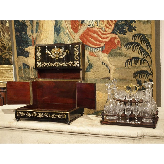 Metal Circa 1850 Napoleon III Cave a Liqueur With Mother of Pearl, Rosewood, and Brass Inlay For Sale - Image 7 of 13