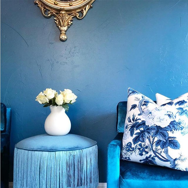 Fabric Mid-Century Blue Velvet Open Arm Club Chairs - a Pair in the Style of Milo Baughman For Sale - Image 7 of 9