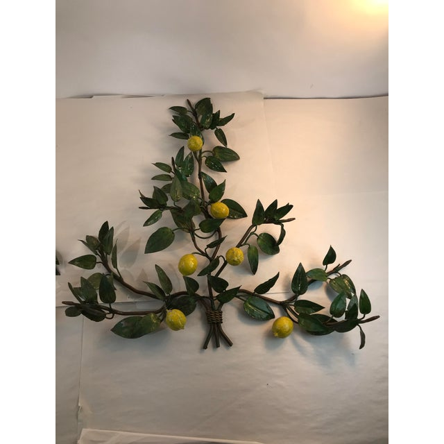 Italian Lemon Tole Candle Wall Sconces - a Pair For Sale - Image 4 of 13