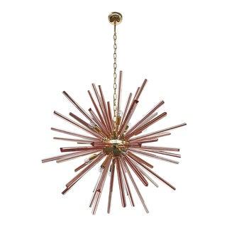 Contemporary Murano Glass Porpora Sputnik Chandelier in 2-Karat Gold Plated Finish For Sale