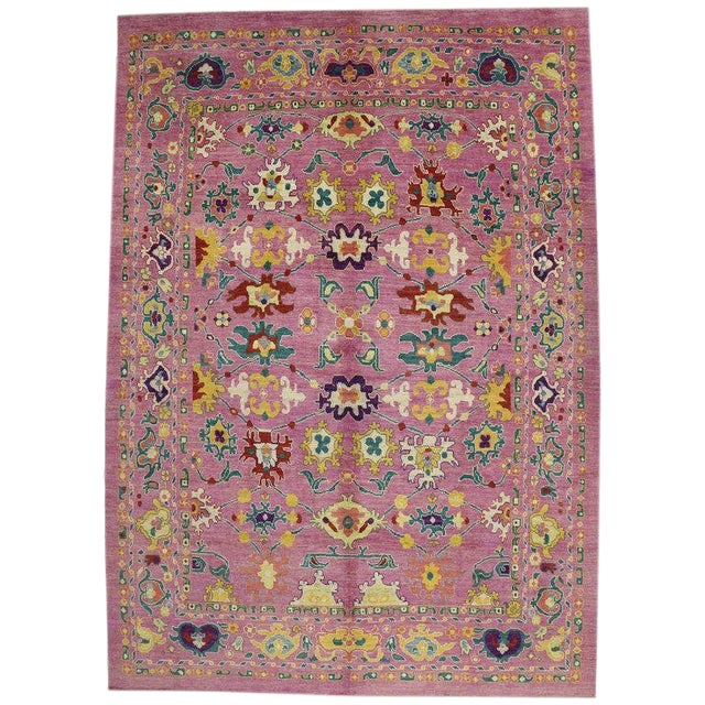 "20th Century Vintage Turkish Oushak Rug - 12' X 16'10"" For Sale"
