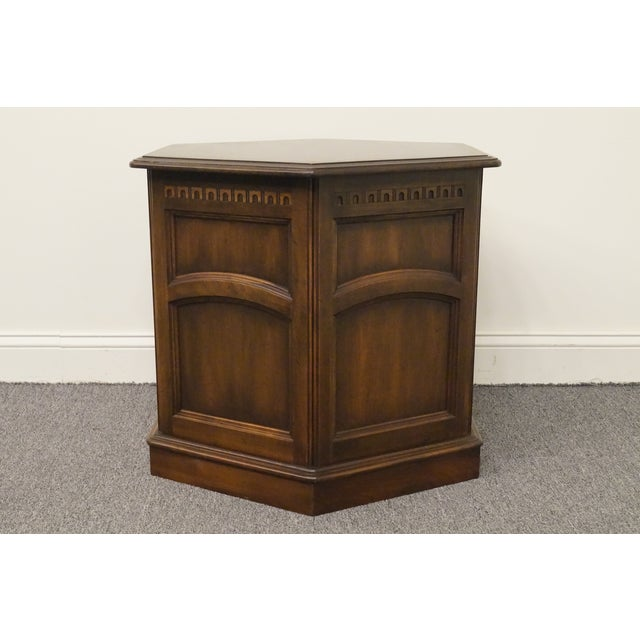 British Colonial 20th Century British Colonial Kling Solid Cherry Hexagonal Storage End Table For Sale - Image 3 of 13
