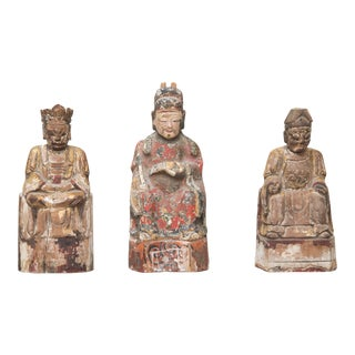 18th Century Hand-Carved Chinese Emperors For Sale