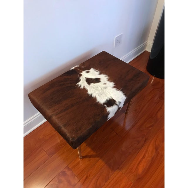 Modern Cow Hide Upholstered Bench With Brass Legs For Sale In New York - Image 6 of 13