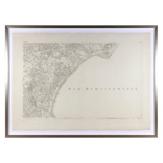 Antique Southern France & the Mediterranean Framed Map For Sale