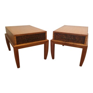 John Keal for Brown Saltman Mahogany & Cork End Tables - a Pair