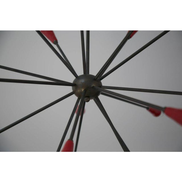 Metal Italian Red Stilnovo Style Seventeen-Light Sputnik Chandelier, Circa 1950 For Sale - Image 7 of 11