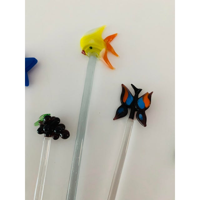 Glass Vintage Art Glass Tropical Animals Fish Assorted Swizzle Sticks - Set of 10 For Sale - Image 7 of 12
