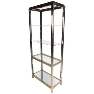 Mid-Century Modern Polished Brass Etagere For Sale
