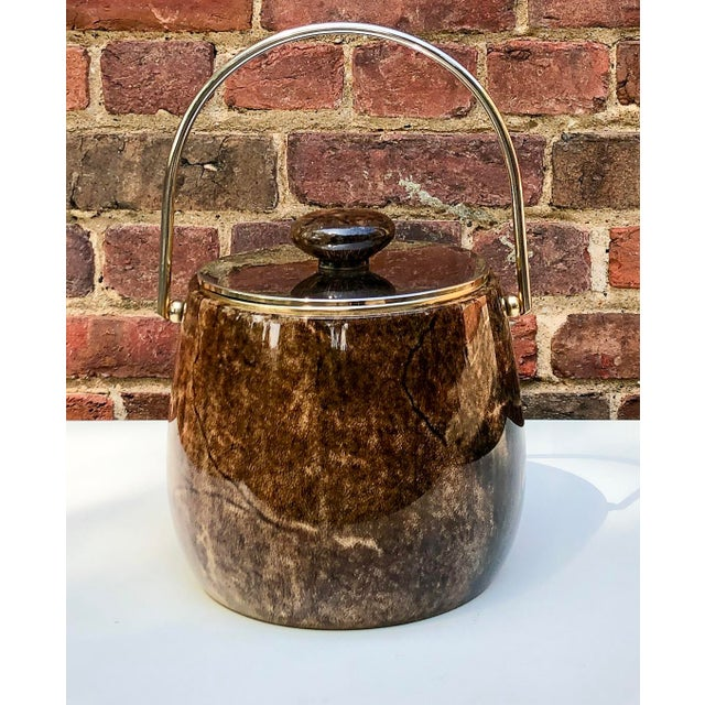 Aldo Tura C.1950 Italian Aldo Tura Brown Goatskin and Brass Plate Ice Bucket For Sale - Image 4 of 12