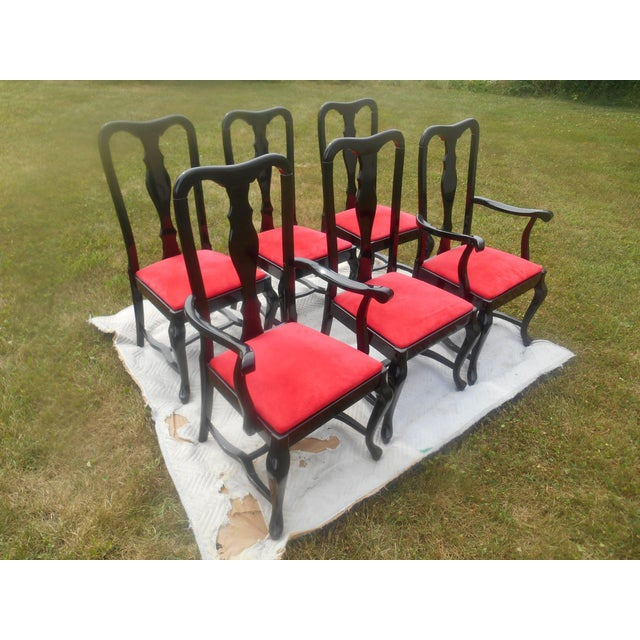 Italian Sculptural Black Lacquer & Red Suede Italian Dining Chairs-Set of 6 For Sale - Image 3 of 9
