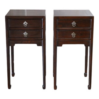 Chinese Elm Wood Lacquered Side Tables - a Pair For Sale