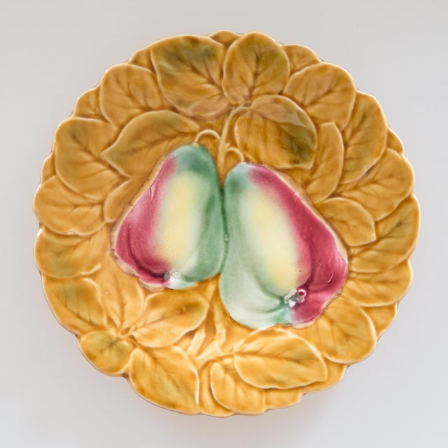 Cottage French Majolica Fruit Plates, Set of 2 For Sale - Image 3 of 8