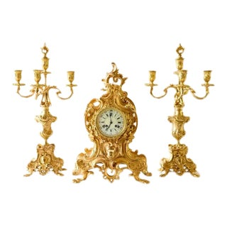 Louis XV Glit-Bronze Clock and Candelabras - Set of 3 For Sale