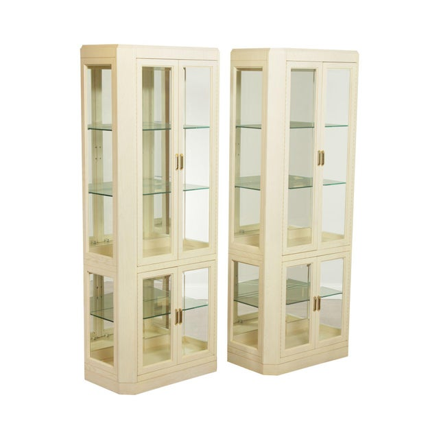 American Of Martinsville Modern Pair Lighted Curio Display Cabinets For Sale - Image 13 of 13