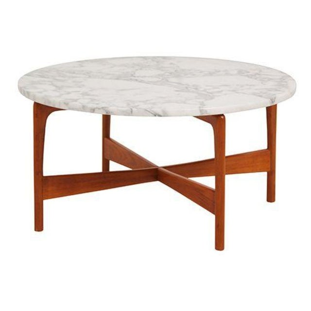 Danish Modern Teak Marble Top Coffee Table For Sale