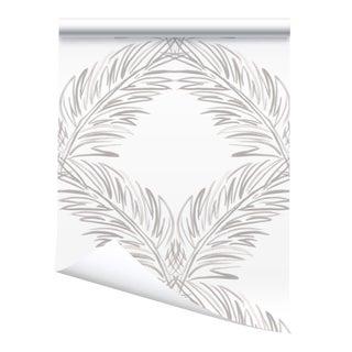 Victoria Larson Palm Trellis Grasscloth Wallpaper Roll - Driftwood For Sale