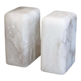 Contemporary Hand Carved Alabaster Chunk Side Tables - a Pair For Sale