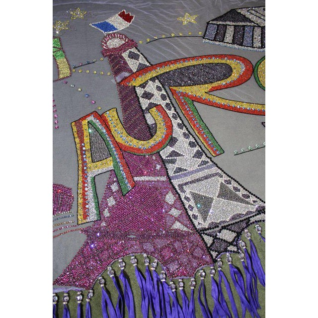 Late 20th Century Vintage Versace Beaded Hanging Textile Art For Sale - Image 9 of 11
