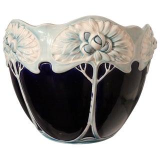 20th Century Art Nouveau Blue Ceramic Vase, 1920s For Sale