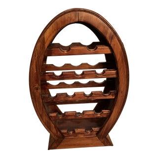 Vintage Large Teak Wood & Rattan Wine Rack For Sale